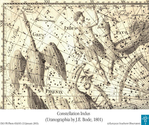 Constellation Indus (Uranographia by J. E. Bode, 1801